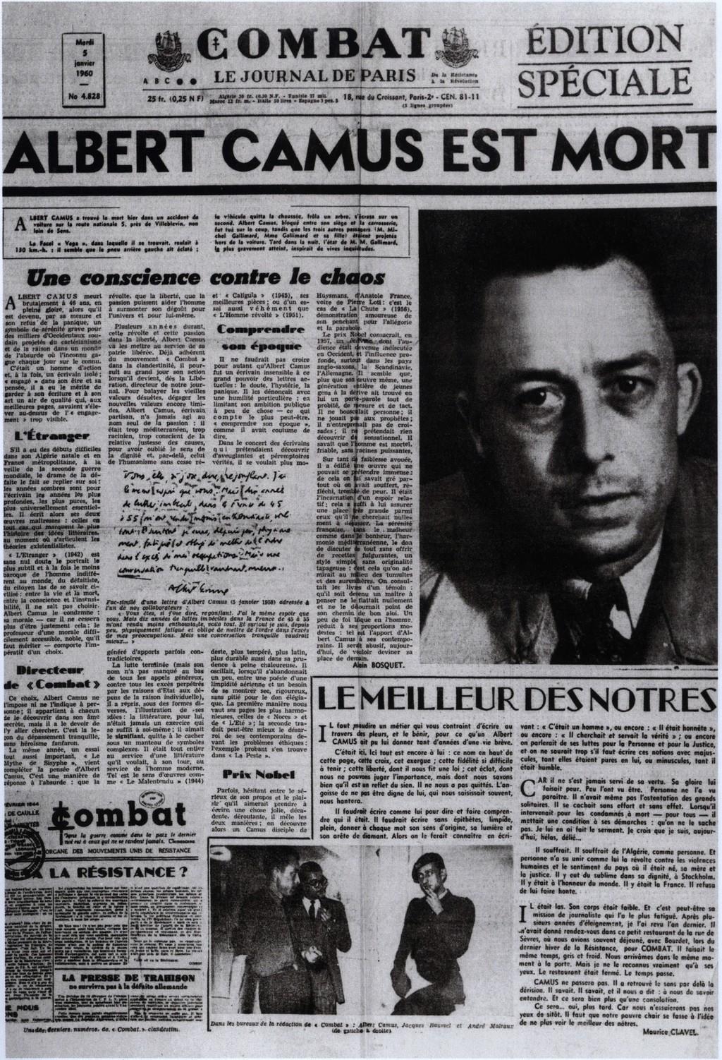 """Noticia de la muerte de Albert Camus en el periódico """"Combat"""""""