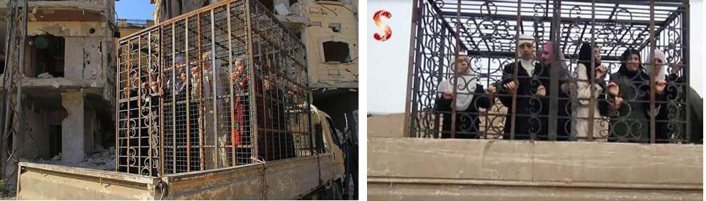 Mujeres enjauladas usadas como escudos humanos en la Ghouta oriental. En vídeo.