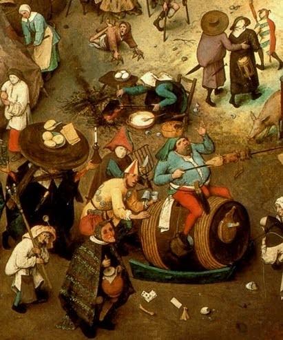 """Detalle del cuadro """"El combate entre Don Carnal y Doña Cuaresma"""" de Breughel"""