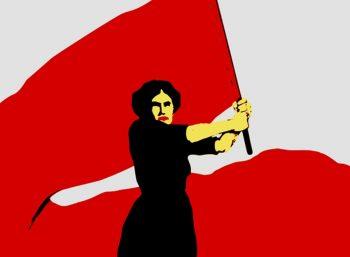 Pintura de mujer con bandera roja